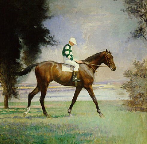 Thoroughbred avec Jockey jusqu à, huile sur toile de Edmund Charles Tarbell (1862-1938, United States)