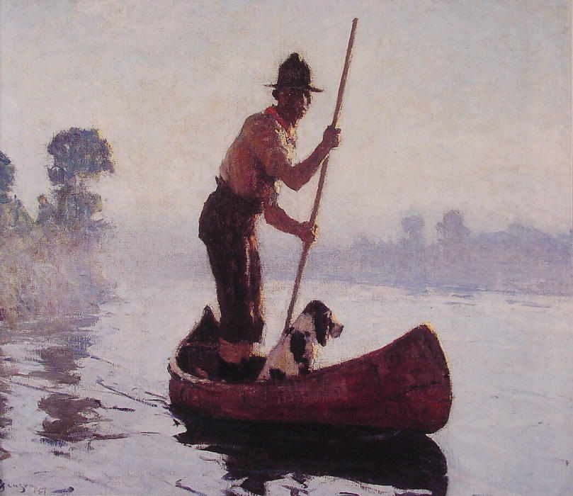 Guide indienne, huile de Frank Weston Benson (1862-1951, United States)