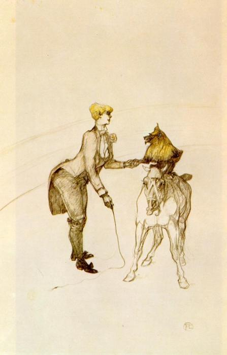 Au Cirque L Animal Trainer, crayon de Henri De Toulouse Lautrec (1864-1901, France)