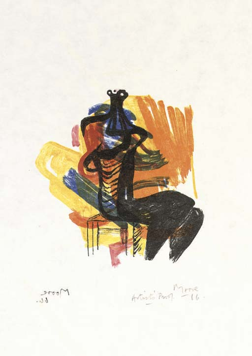 noir assis la figure sur orange sol de Henry Moore (1898-1986, United Kingdom) | Reproductions D'art Sur Toile | ArtsDot.com