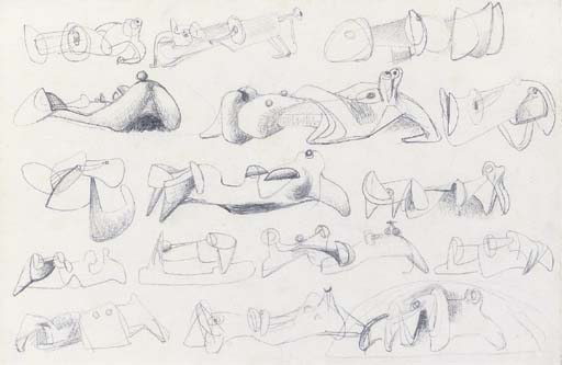 dessin pour sculpture inclinable  de figures , Huile de Henry Moore (1898-1986, United Kingdom)