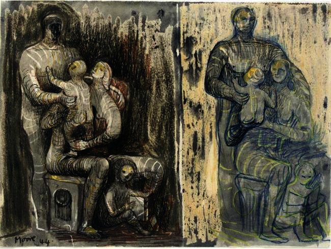 FAMILLE GROUPE 4, huile de Henry Moore (1898-1986, United Kingdom)