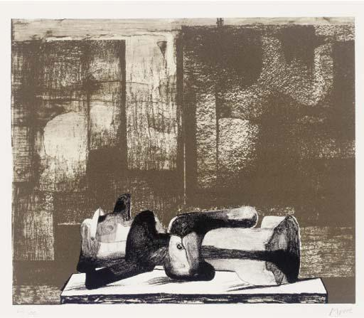 Reclining Figure - Architectural Background IV, gravure de Henry Moore (1898-1986, United Kingdom)