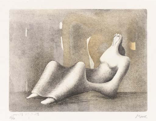 inclinable la figure -   laube , Huile de Henry Moore (1898-1986, United Kingdom)