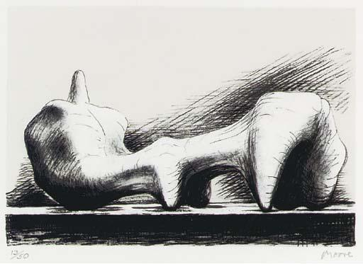 figure inclinables 7, huile de Henry Moore (1898-1986, United Kingdom)