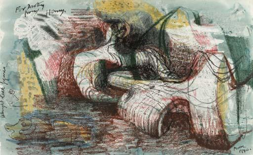 figure inclinables 8, huile de Henry Moore (1898-1986, United Kingdom)