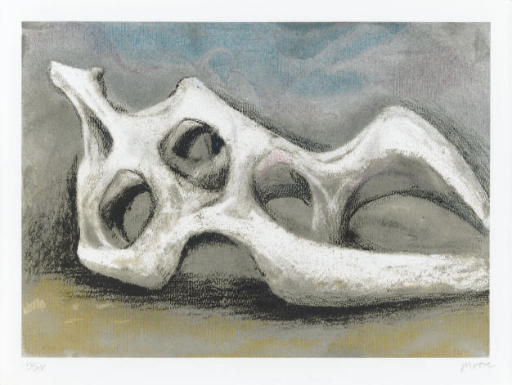 Reclining Figure os, aquarelle de Henry Moore (1898-1986, United Kingdom)