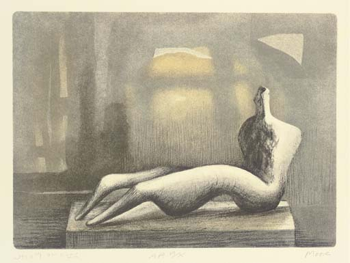inclinable la figure coucher du soleil, Huile de Henry Moore (1898-1986, United Kingdom)