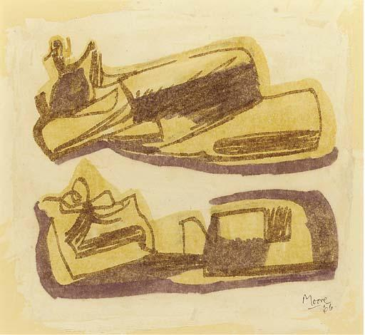 inclinable chiffres 1, huile de Henry Moore (1898-1986, United Kingdom)