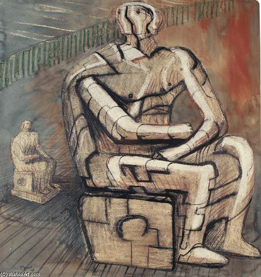 figure assise 1, huile de Henry Moore (1898-1986, United Kingdom)