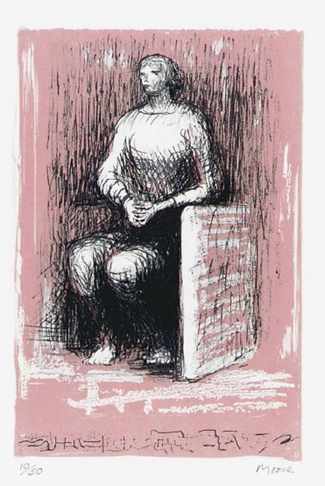 figure assise 2, gravure de Henry Moore (1898-1986, United Kingdom)