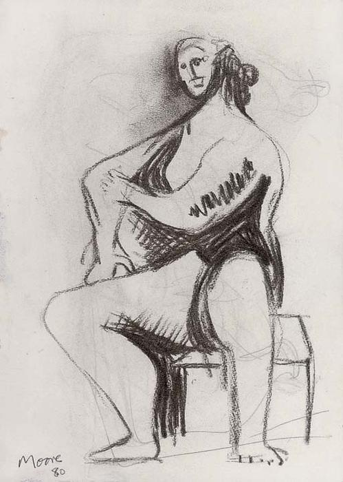Personnage assis, dessin de Henry Moore (1898-1986, United Kingdom)
