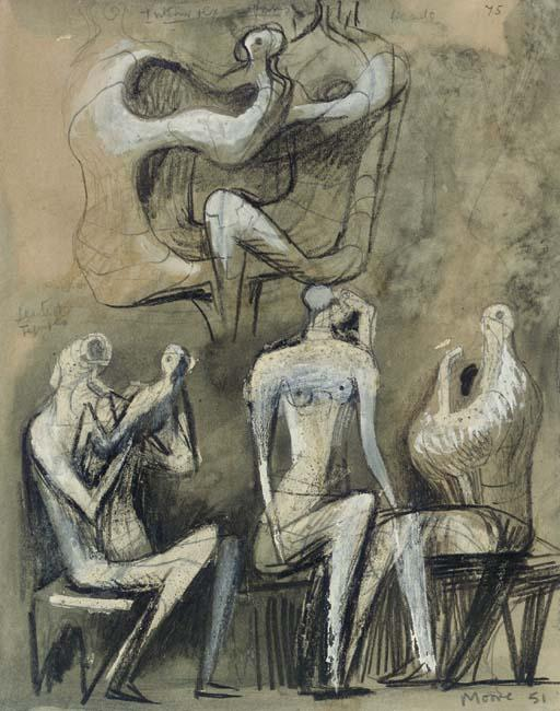 assis chiffres 1, huile de Henry Moore (1898-1986, United Kingdom)