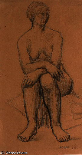 assis fille 1  , Illustration de Henry Moore (1898-1986, United Kingdom)