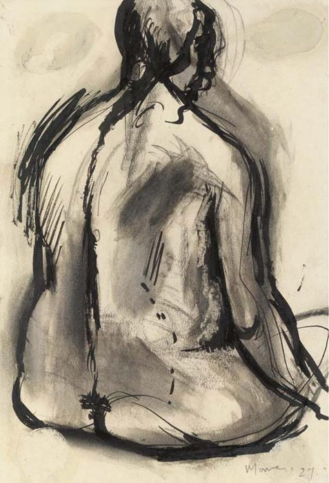 snu assis, Huile de Henry Moore (1898-1986, United Kingdom)