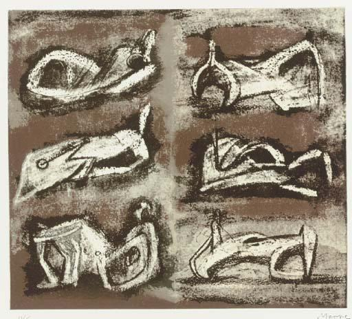 six inclinable chiffres 1, dessin de Henry Moore (1898-1986, United Kingdom)