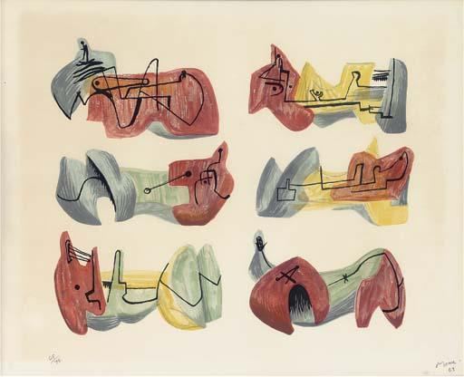 Six inclinable chiffres 2, huile de Henry Moore (1898-1986, United Kingdom)
