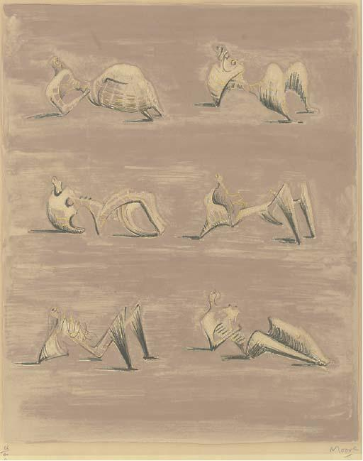 six inclinable chiffres 3, huile de Henry Moore (1898-1986, United Kingdom)