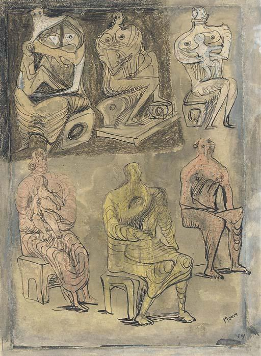 six assis femmes quatre  la tenue  enfants , dessin de Henry Moore (1898-1986, United Kingdom)