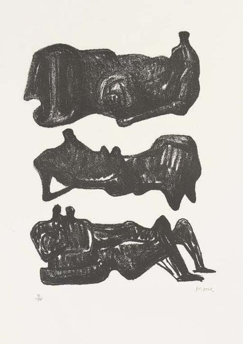 trois inclinable chiffres 1, huile de Henry Moore (1898-1986, United Kingdom)