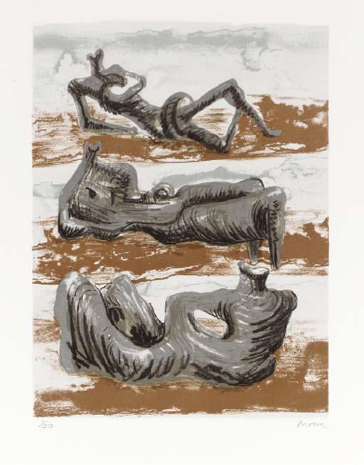 trois inclinable chiffres 6, huile de Henry Moore (1898-1986, United Kingdom)