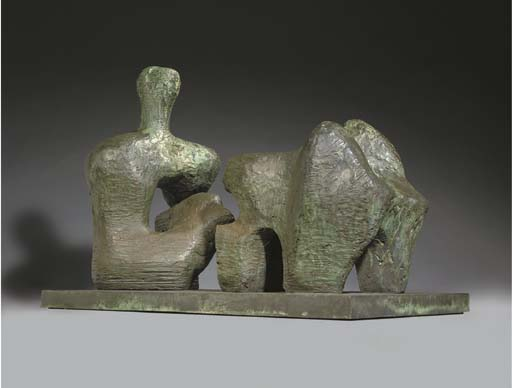 Deux Piece Reclining Figure, n ° 4, huile de Henry Moore (1898-1986, United Kingdom)