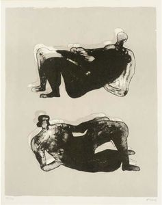 Henry Moore - deux inclinable chiffres 7