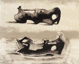 Henry Moore - deux inclinable chiffres 9