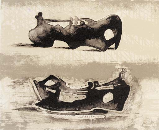 deux inclinable chiffres 9, huile de Henry Moore (1898-1986, United Kingdom)