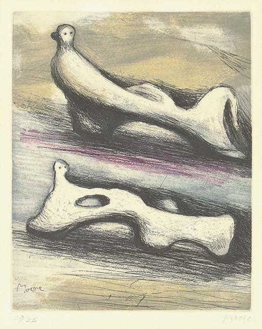 deux inclinable chiffres, huile de Henry Moore (1898-1986, United Kingdom)