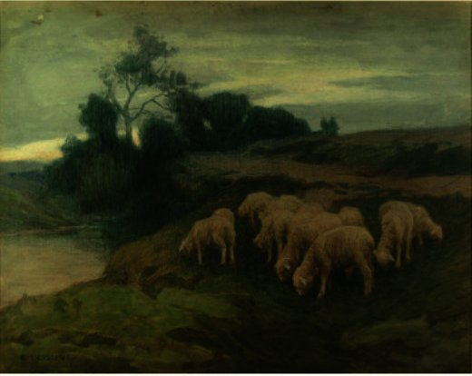 Grazing Sheep, dessin de Eanger Irving Couse (1866-1936, United States)