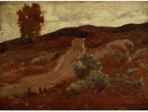 route plus colline, dessin de Eanger Irving Couse (1866-1936, United States)