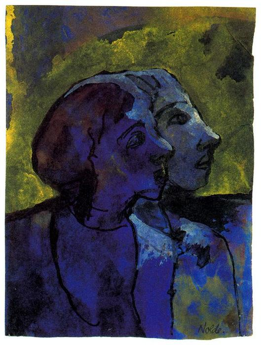 bleu couple ( de profil ) dans sidelight de Emile Nolde (1867-1956, Germany)