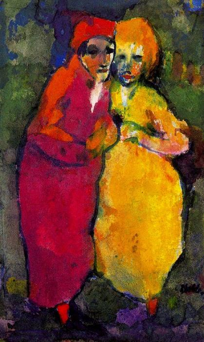 couples rouge  et  jaunes  de Emile Nolde (1867-1956, Germany)
