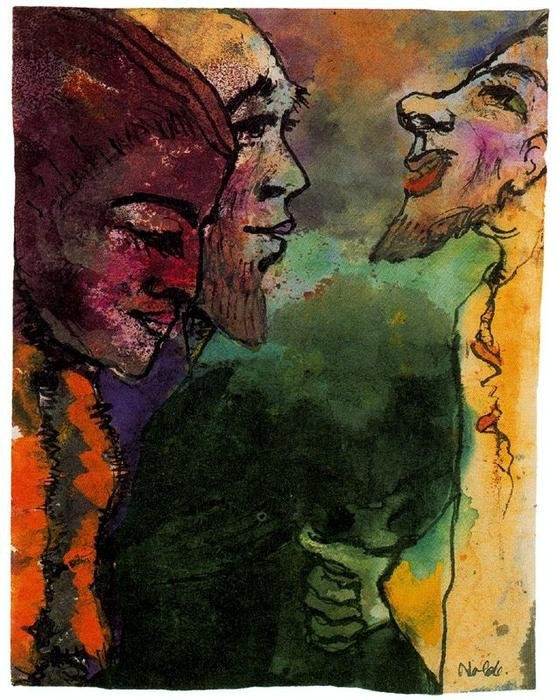Couple et barbiche Man dans  profil  de Emile Nolde (1867-1956, Germany)