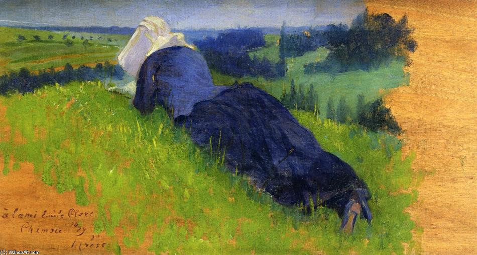Paysanne Allongée sur l Herbe, 1890 de Henri Edmond Cross (1856-1910, France) | Reproductions D'art Sur Toile | ArtsDot.com