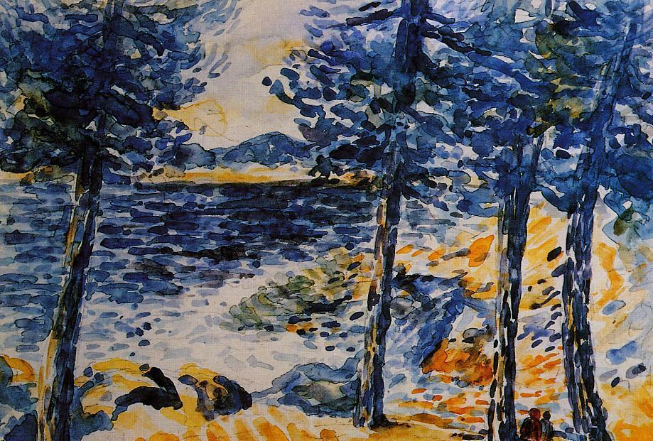 Pines by the Sea, aquarelle de Henri Edmond Cross (1856-1910, France)