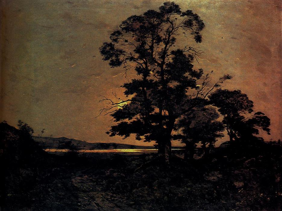 Moonlight sur la Loire de Henri-Joseph Harpignies (1819-1916, France)