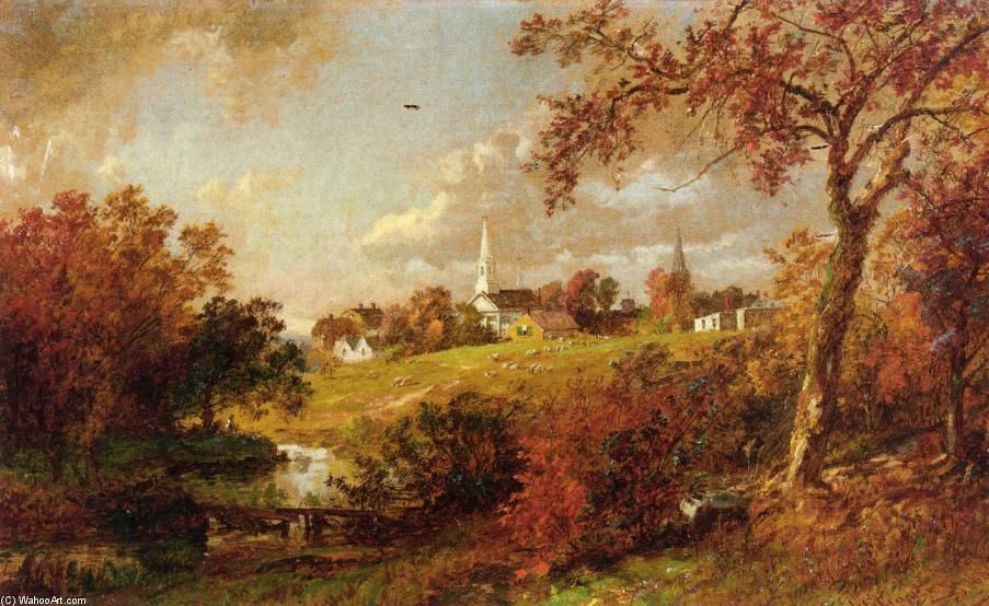 arrière de l' village , Hastings-on-Hudson , new york de Jasper Francis Cropsey (1823-1900, United States)