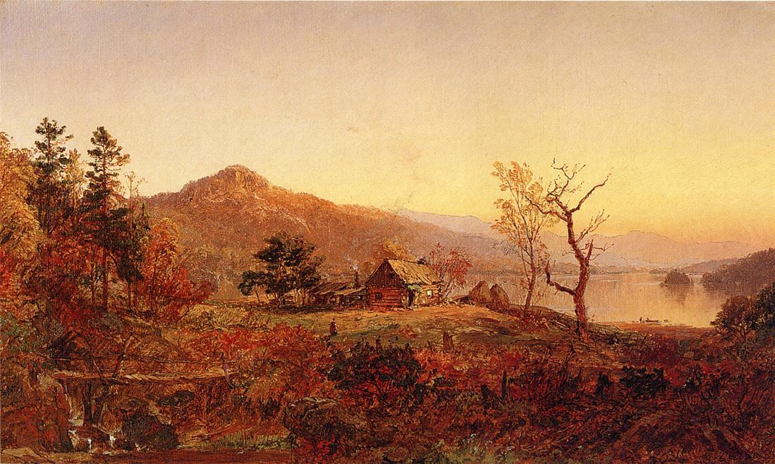 Fisherman's Cabane , Greenwood Lac, huile sur toile de Jasper Francis Cropsey (1823-1900, United States)