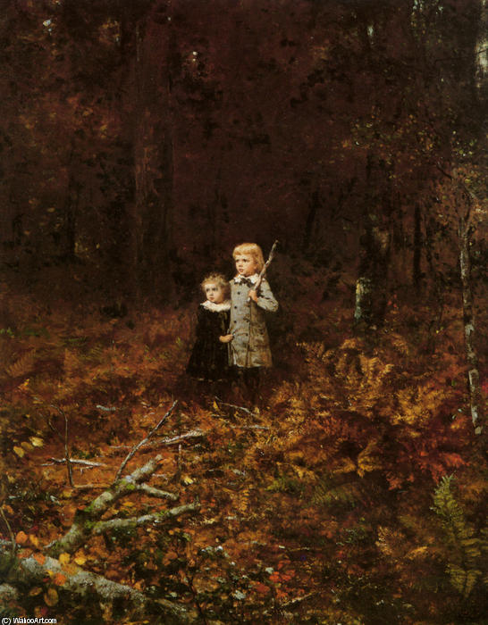 babies` dans le bois de Jonathan Eastman Johnson (1824-1906, United Kingdom)