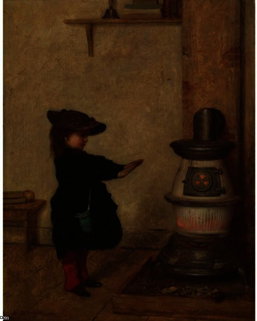 Réchauffement ses mains de Jonathan Eastman Johnson (1824-1906, United Kingdom) | Reproductions De Qualité Musée | ArtsDot.com