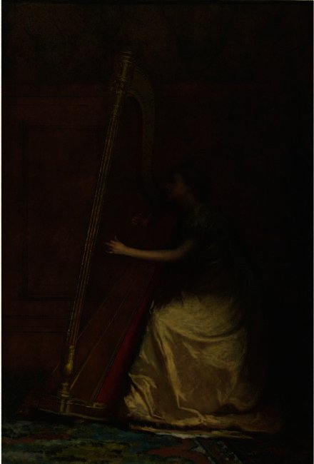 Femme jouant Harpe de Jonathan Eastman Johnson (1824-1906, United Kingdom) | Reproductions De Qualité Musée | ArtsDot.com