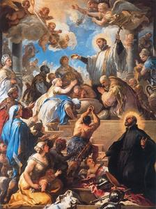 Luca Giordano - St. Francis Xavier baptisant Indiens