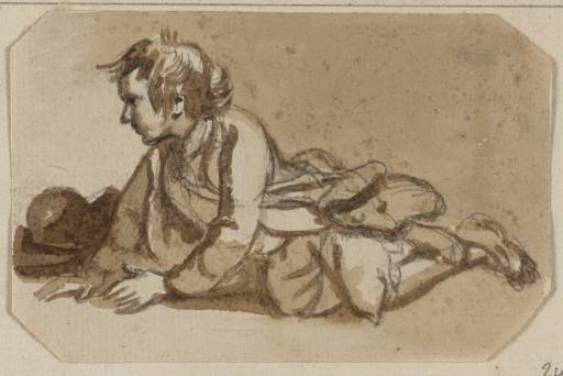 Une boy crawling sur l Sol de Paul Sandby (1798-1863, United Kingdom)