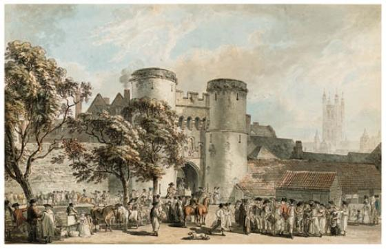Porte Saint-George, Canterbury de Paul Sandby (1798-1863, United Kingdom)