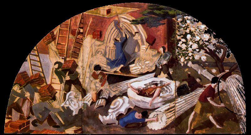 Les constructeurs de la Tour de Babel de Stanley Spencer (1891-1959, United Kingdom)