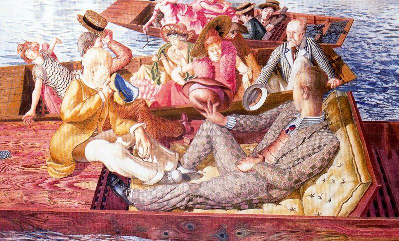 Christ prêchant à Cookham Regata Punts Réunion  de Stanley Spencer (1891-1959, United Kingdom)