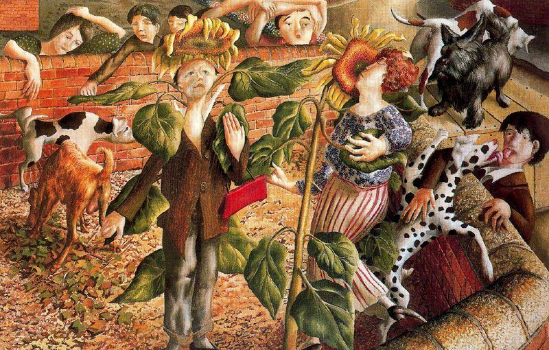 Tournesol et le chien culte de Stanley Spencer (1891-1959, United Kingdom)