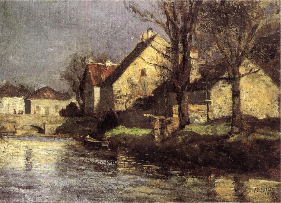 Canal , Schlessheim, huile sur toile de Theodore Clement Steele (1847-1926, United States)